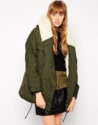 Mbym Parka With Sheared Lining And Collar 441Militarygreen