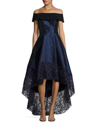 Betsy And Adam Lace Trimmed Hi Lo Gown Navy