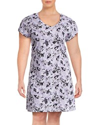 Lord And Taylor Plus Floral V Neck Sleepshirt Purple