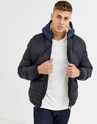 Native Youth Sherpa Lined Puffer Jacket Navy