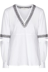 Thakoon Embroidered Cutout Cotton Blend Top White