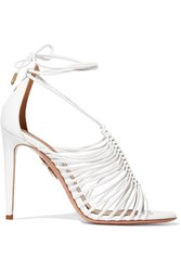 Aquazzura Nadja Leather Sandals White