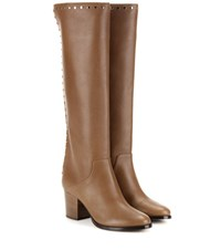Jimmy Choo Monroe 65 Embellished Knee High Leather Boots Brown