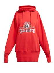 Vetements Secret Society Cotton Hooded Sweatshirt Red