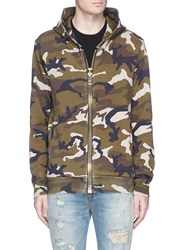 Palm Angels Camouflage Print Maxi Puller Zip Hoodie Green
