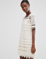 Mango Short Sleeve Crochet Shift Dress White