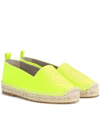 Anya Hindmarch Smiley Leather Espadrilles Yellow