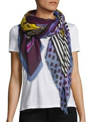 Franco Ferrari Danao Floral Silk And Modal Scarf Purple Yellow