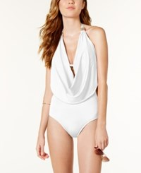Bar Iii Draped Monokini One Piece Swimsuit Only At Macy's Women's Swimsuit White