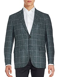 Corneliani Wool Blend Teakweave Coat Dark Green Check