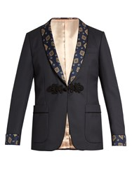 Gucci Printed Lapel Wool Blend Blazer Blue