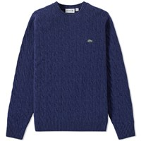 Lacoste Cable Crew Knit Blue