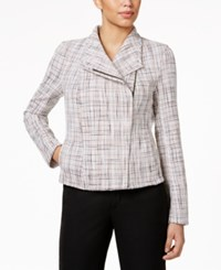 Tommy Hilfiger Tweed Moto Jacket Ivory Peach Black