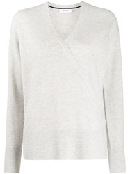 Calvin Klein Wrap Front Ribbed Knit Jumper 60