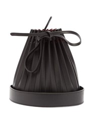Mansur Gavriel Pleated Leather Bucket Bag Black Multi