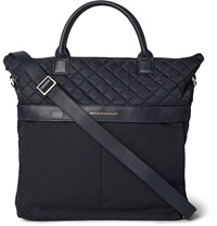 Want Les Essentiels O'hare Ii Leather Trimmed Cotton Canvas And Quilted Shell Tote Blue