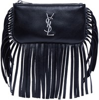 Saint Laurent Black Leather Fringed Monogram Pouch