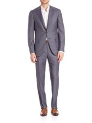 Isaia Grey And Blue Plaid Suit Medium Grey