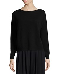 Eileen Fisher Fine Gauge Cashmere Box Top Ash Gray