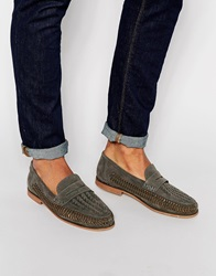 New Look Faux Suede Woven Loafers Grey