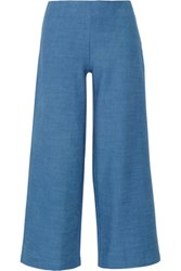 Solid And Striped The Side Zip Cotton Chambray Flared Pants Blue