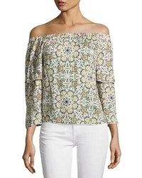 Ella Moss Minori Mosaic Off The Shoulder Top Neutral Pattern