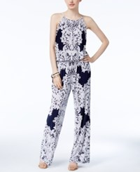 Inc International Concepts Lace Print Jumpsuit Only At Macy's Deep Twilight