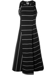 Nude Striped Flared Dress Women Cotton 42 Black