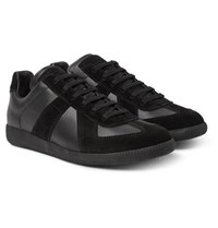 Maison Martin Margiela Replica Leather And Suede Sneakers Black