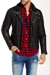 Lucky Brand Titan Genuine Leather Moto Jacket Black