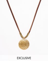 Reclaimed Vintage Metal Disc Leather Necklace Brown
