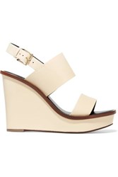 Tory Burch Lexington Leather Wedge Sandals Ivory