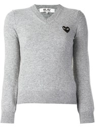 Comme Des Garcons Play Embroidered Heart Jumper Grey