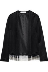 Galvan London Woman Molten Fringed Stretch Knit Jacket Black