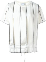 Dkny Panelled Pinstripe Top White