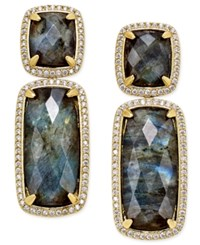 Paul And Pitu Naturally 14K Gold Plated Labradorite Double Drop Earrings Multi
