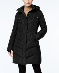 Calvin Klein Hooded Quilted Colorblock Puffer Coat Black