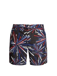 Robinson Les Bains Oxford Long Graphic Print Swim Shorts Black Multi