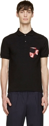 Raf Simons Black And Red Floral Pocket Polo