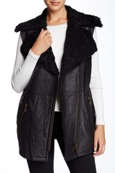 Doma Long Goat Shearling Lined Leather Vest Black