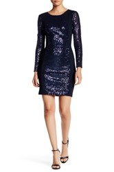 Abs By Allen Schwartz Open Back Sequin Mesh Cocktail Dress Blue