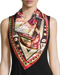 Salvatore Ferragamo Nirvana Silk Square Kaleidoscope Scarf Multicolor Multi Colors