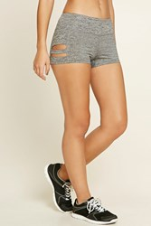 Forever 21 Active Heathered Cutout Shorts Charcoal