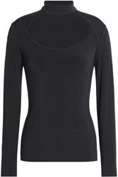 Bailey 44 Wide Shot Cutout Stretch Jersey Top Charcoal