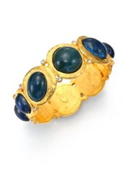 Kenneth Jay Lane Cabochon Hinged Bangle Bracelet