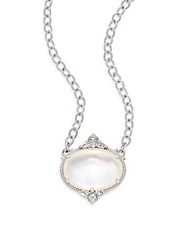 Judith Ripka Allure White Sapphire Rock Crystal Mother Of Pearl And Sterling Silver Oval Necklace