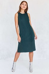 Silence And Noise Pleated Overlay Side Slit Midi Tank Dress Green