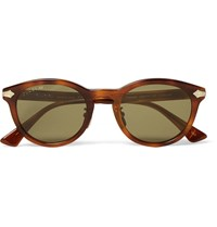 Gucci Round Frame Tortoiseshell Acetate And Silver Tone Sunglasses Brown