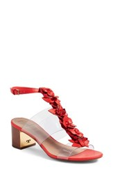 Tory Burch Women's Blossom Sandal Red Volcano Clear