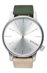 Komono Men's 'Winston Heritage' Multitoned Canvas Strap Watch 41Mm Green Beige Silver